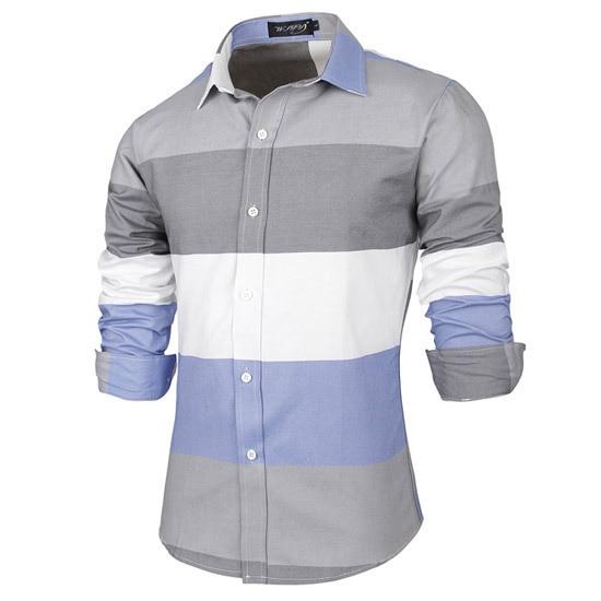 Высокое качество марка белый серый мужские полосатые рубашки с длинным рукавом блузка мода мужчины рубашка Camisa социальной тонкой пригонки Masculina