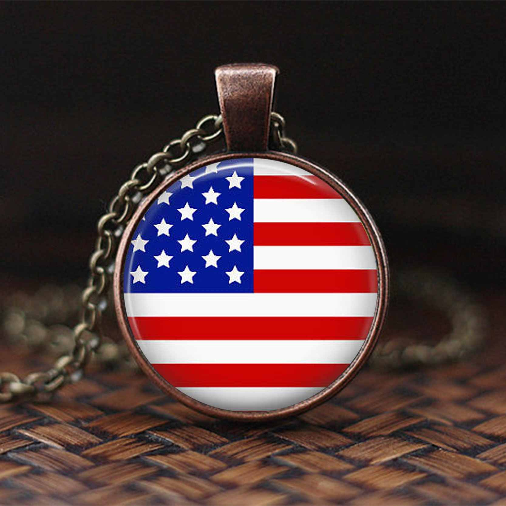 Unión Jack colgante con diseño de bandera Vintage moda mujer hombre joyería Estados Unidos bandera británica Gran Bretaña collar de cristal estilo cabujón regalo