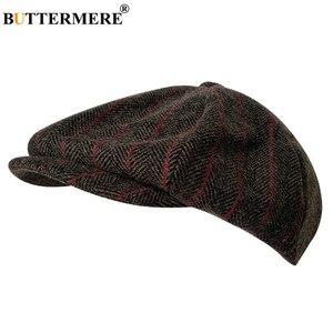 Image 3 - BUTTERMERE Мужская кепка в елочку, Шерстяная кепка газетчика, мужская темно серая зимняя Классическая восьмиугольная кепка, винтажная шляпа британского художника