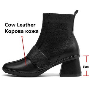 Image 3 - FEDONAS 2020 Genuine Leather Women High Heeled Ankle Boots Autumn Winter Chelsea Boots for Women Side Zipper Party Shoes Woman
