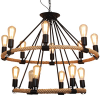 Edison Loft Vintage Pendant Light Hemp Rope Bamboo Iron Cage Pendant Lamps Hand Knitted Lighting Fixtures Restaurant Coffee Shop