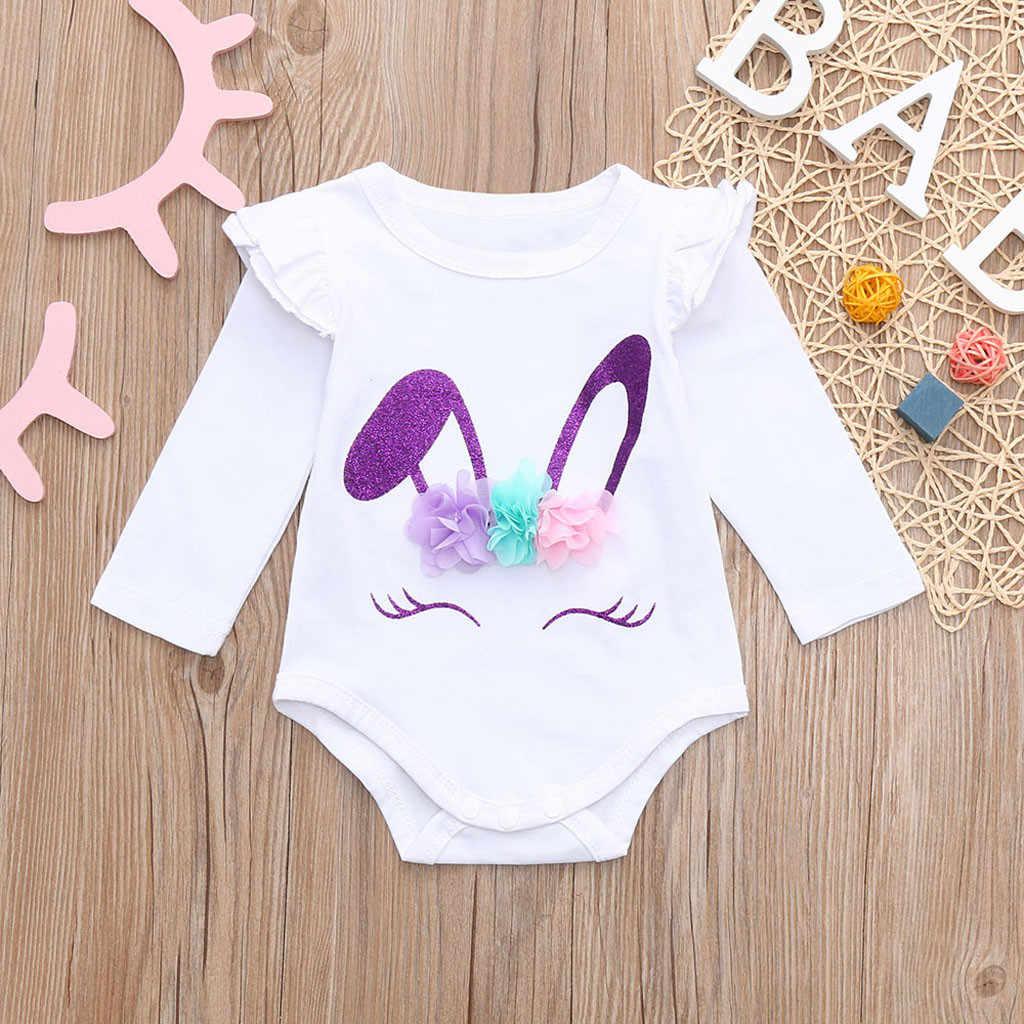 2019 Nieuwe Leuke Baby Meisje Witte Bodysuits Pasgeboren Baby Meisjes Baby Kids Kleding Lange Mouwen Kanten Ruches Bodysuit Outfits 0 -24m