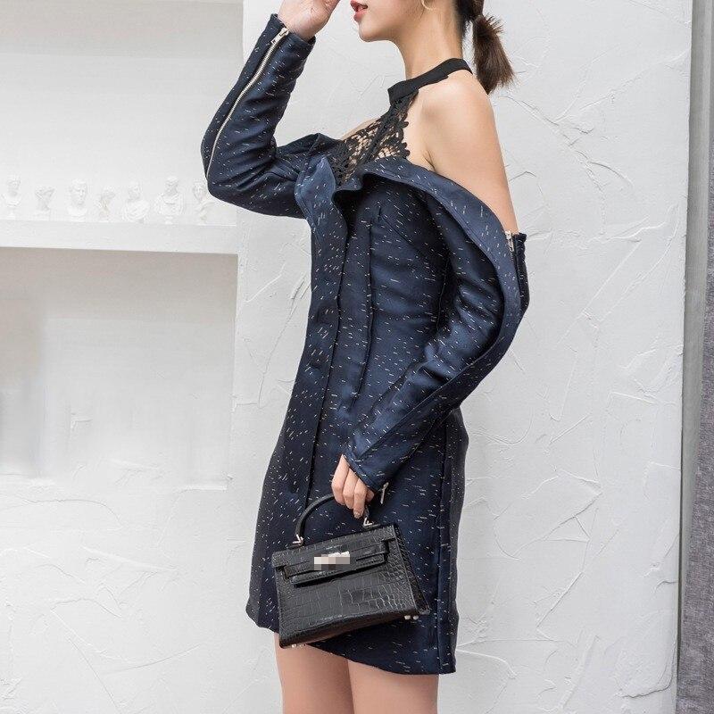 Blue Twotwinstyle Halter Imprimer Féminine Mode Robes Évider Pour Vêtements De Nu Dress Dos 2018 Automne Femmes Taille Sexy Éclair Fermeture Haute Robe FFrqwxf