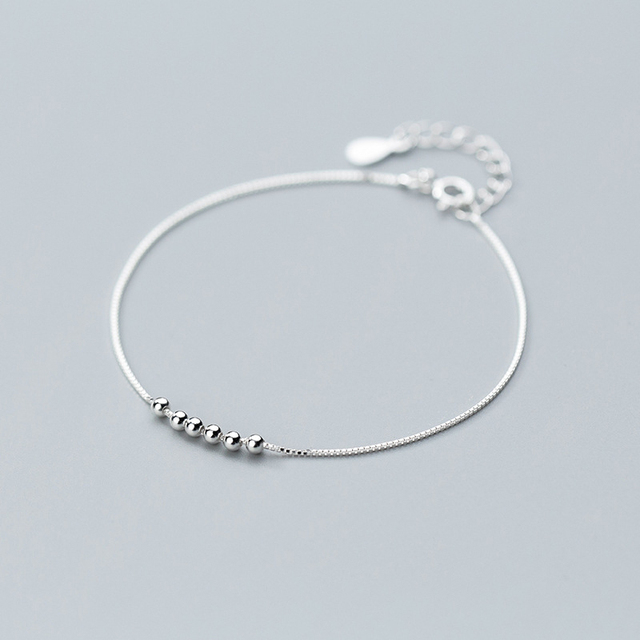 925 Sterling Silver Minimalist Geometric Beads Bracelet