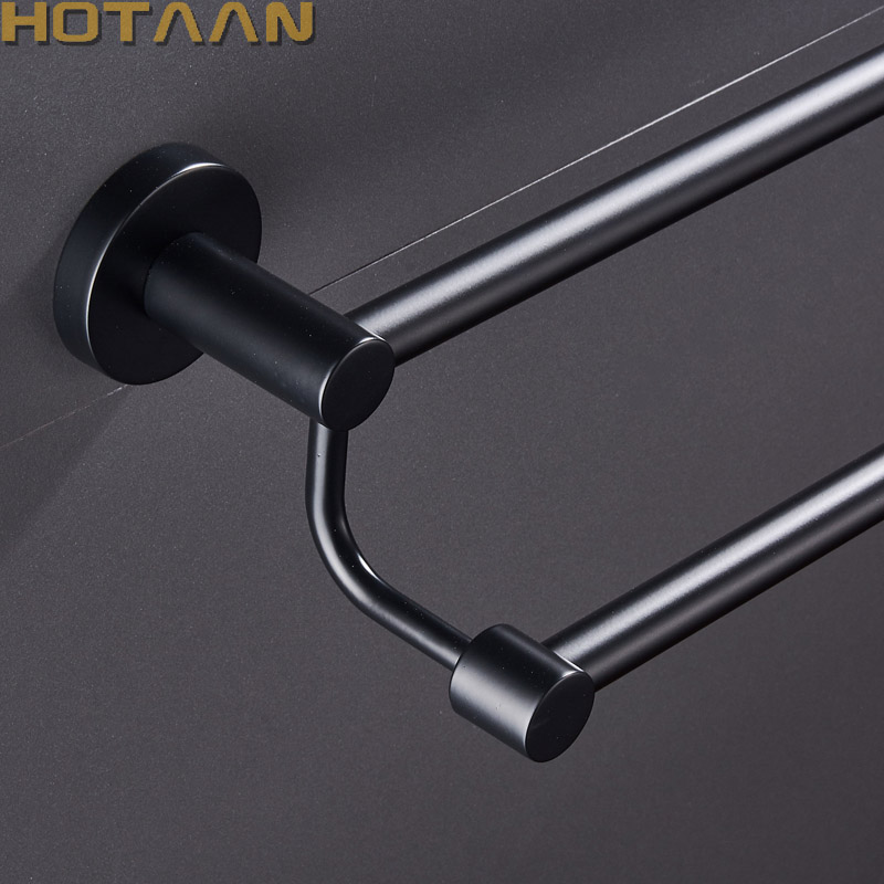 Free Shipping Matte Black Finish Stainless Steel Bathroom Accessory Double Towel Bar Towel Rail Towel Holder 60cm YT-10998-H