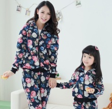 Family Flower Print Zipper Closure Coats + Pants Clothes set for Mother and Daughter Girls Clothing Set CP71
