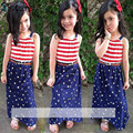 Summer Baby Girls Clothing sling + dress 2pcs set T shirt suit children clothing striped suit pentagram stars Fashion style