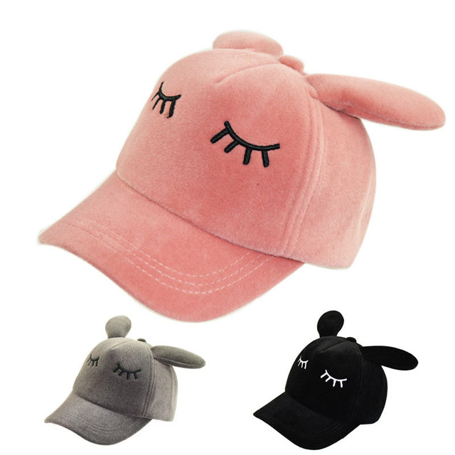 3c24b0de 50-54cm Children's Girls Fancy Bunny Ears Baseball Caps Sleeping Eyes Hats  Snapback Cosplay Dress