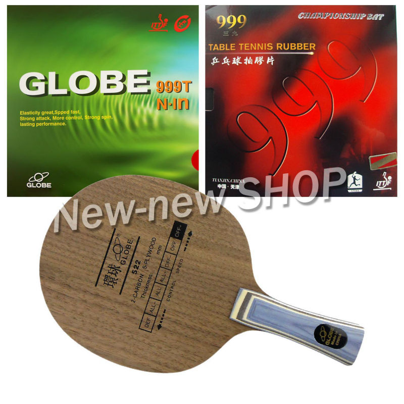 Globe 522 Blade with Globe 999T Japanese Sponge and 999 999T Rubbers for a Racket Shakehand long handle FL pro table tennis pingpong combo racket globe 522 with globe 999t japanese sponge and 999 999t shakehand long handle fl