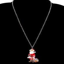 WEVENI Enamel Alloy Santa Claus Gift Bag Earrings Drop Dangle Necklace Pendant Natal Jewelry Sets Women Girls Accessories Bijoux