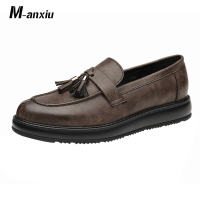 M anxiu Korean Style Vintage Tassel Fringe Leather Shoes Men Casual Loafers Night Club Party Flat Shoes Gift for Boyfriend