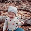 Осень дети свитер цветные шары детские трикотажные кардиганы моды малышей мальчики свитер хлопок + шерстяные новорожденных девочек свитер