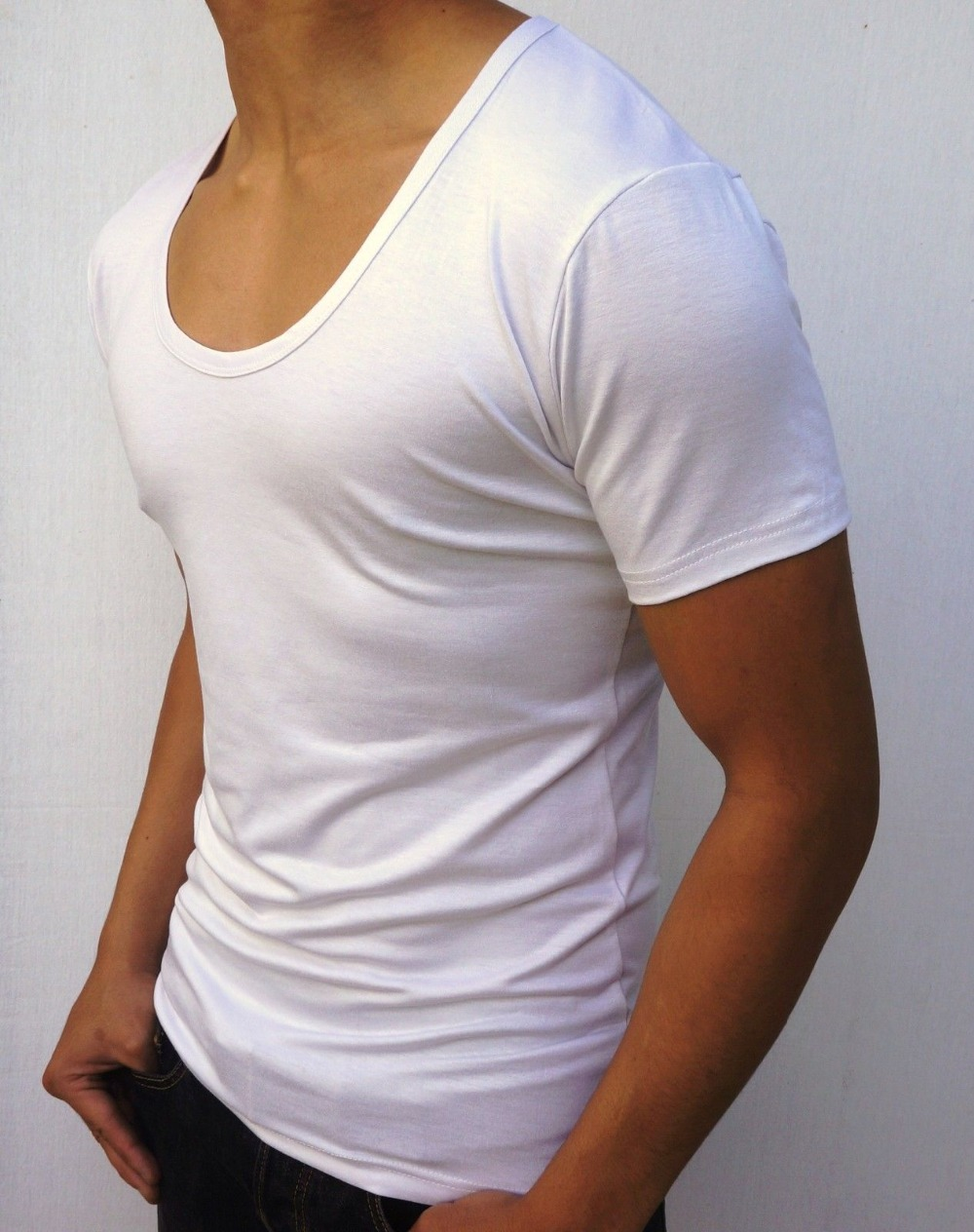 Plain black t shirt xxl - New Mens Plain White Black Deep Scoop Neck T Shirt S Xxl Slim Fit Fashion Men S Singlets Gym Tee Shirts Sports Clothes In T Shirts From Men S Clothing