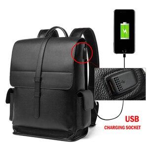 Image 3 - BISON DENIM Genuine Leather 14 inches Backpack Mens Travel Bag Waterproof Daypack USB Charging School Backpack N2645