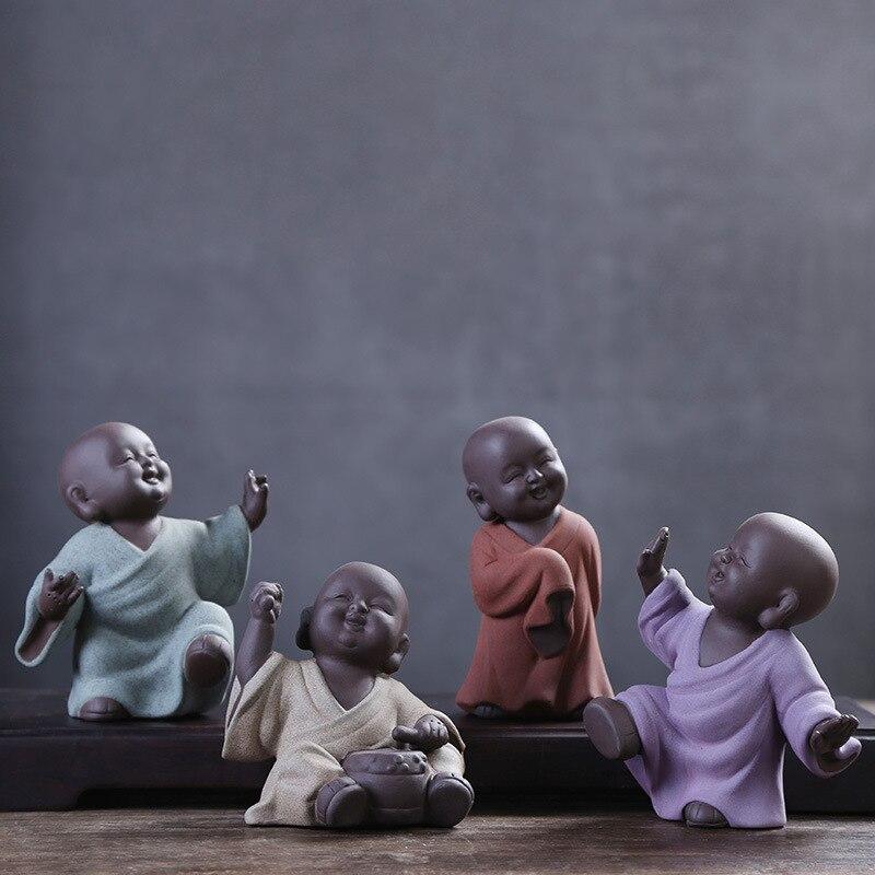 2017 Ceramic Purple Sand Pottery Tea Pet Zen Monk Home Decoration Furnishing Creative Gift Buddha Statue Decoration