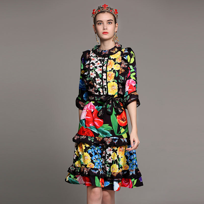 new designer fashion summer dress Women Three Quarter Sleeve Amazing Flower Printed Ruffles Belt bow vintage beautiful dress