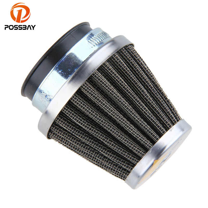 POSSBAY 46mm Dirt Bike Go-Karts Motorcycle Air Filter Cleaner Replacement Clamp-on Rubber Pipe Metal Shell New Refit
