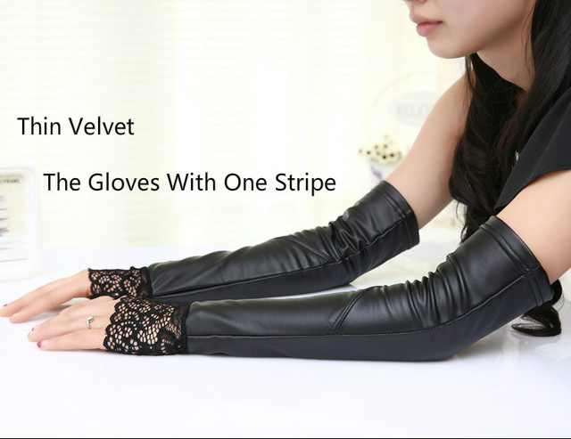 Women Gloves Lace Leather...
