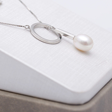 DAIMI 9-10mm Tear Drop Freshwater Pearl 925 Sterling Silver Pendant Necklace Hot Design