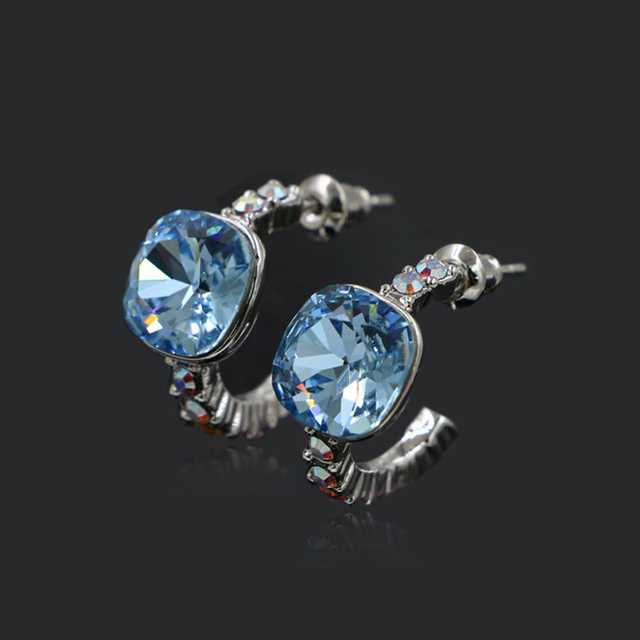 Fashion Blue Square Austrian Crystal Small Half Circle Round Hoop Earrings Girls Lady Jewelry Party