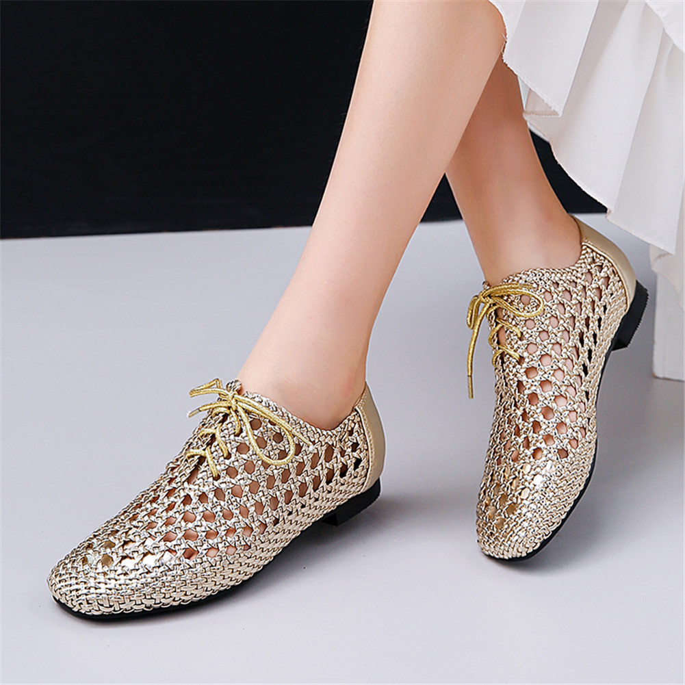 Brand Plus Size 33-43 Weave comfortable Genuine Leather Lace Up Hollow Shoes Woman casual Office Summer flats 2019Brand Plus Size 33-43 Weave comfortable Genuine Leather Lace Up Hollow Shoes Woman casual Office Summer flats 2019