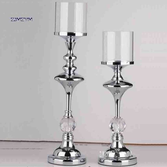 Charming ZJMZYM Single Head Wrought Iron Candlestick Home Decor Candle Holders  Wedding Decoration Candelabra Modern Glass Candle