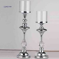 ZJMZYM Single Head Wrought Iron Candlestick Home Decor Candle Holders Wedding Decoration Candelabra Modern Glass Candle