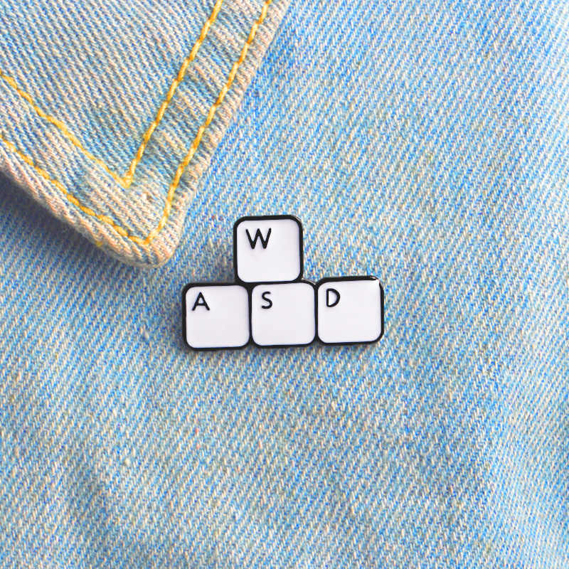 Gaming Keyboard WASD Brooch Funny Letter Block Computer Game Control Keyboard Enamel Pin Shirt Denim Badge Computer Worker Gifts