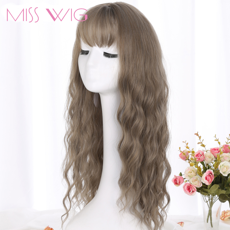 MERISI HAIR 26 SLong Grey Brown Womens Wigs with Bangs Heat Resistant Synthetic Wavy Wigs for Black Women African American-++
