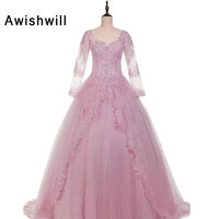 Real Pictures Pink Quinceanera Dresses 2018 Long Sleeve Lace up Appliques Tulle Ball Gown Debutante Party Dress Sweet 16 Dresses