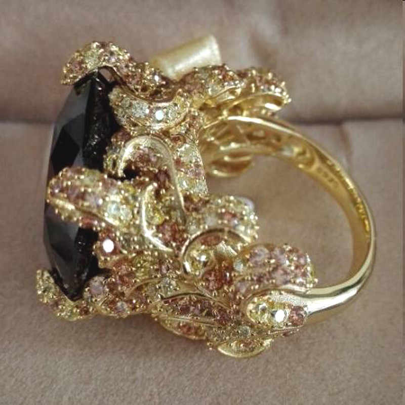 AnillosฉีXuan_Fashion Jewelry_Bigสีม่วงเข้มหรูหราค็อกเทลRings_Plated Rose G Oldนิ้วRings_Factoryขายโดยตรง