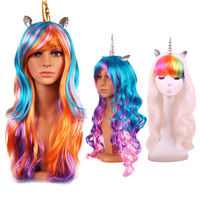 Fashiein Colorful Long Curly Wig Rainbow Horn Cosplay Drag Race Wig Colorful