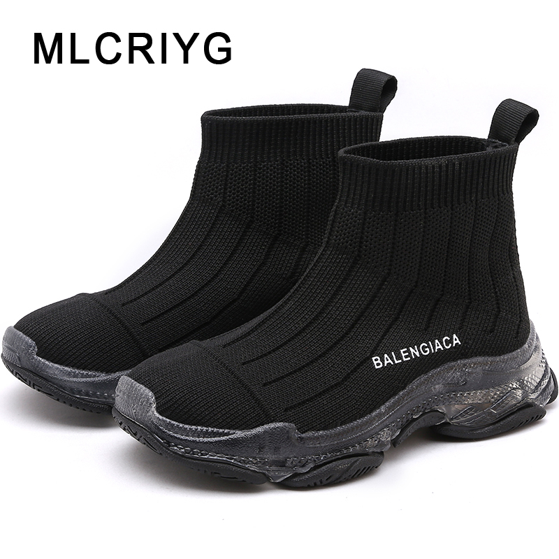 Spring 2019 Kids Sock Casual Shoes Boys Brand Chunky Sneakers Children High Top Sport Sneakers Baby Girls Black Clunky Sneaker Sneakers