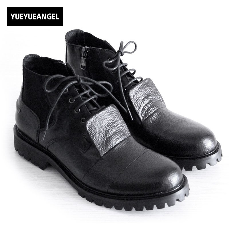 New 2018 Winter Mens Genuine Leather Shoes Lace Up Ankle Boots Man Black Booties Man Thick Platform Male Social Shoe Heel 3CM