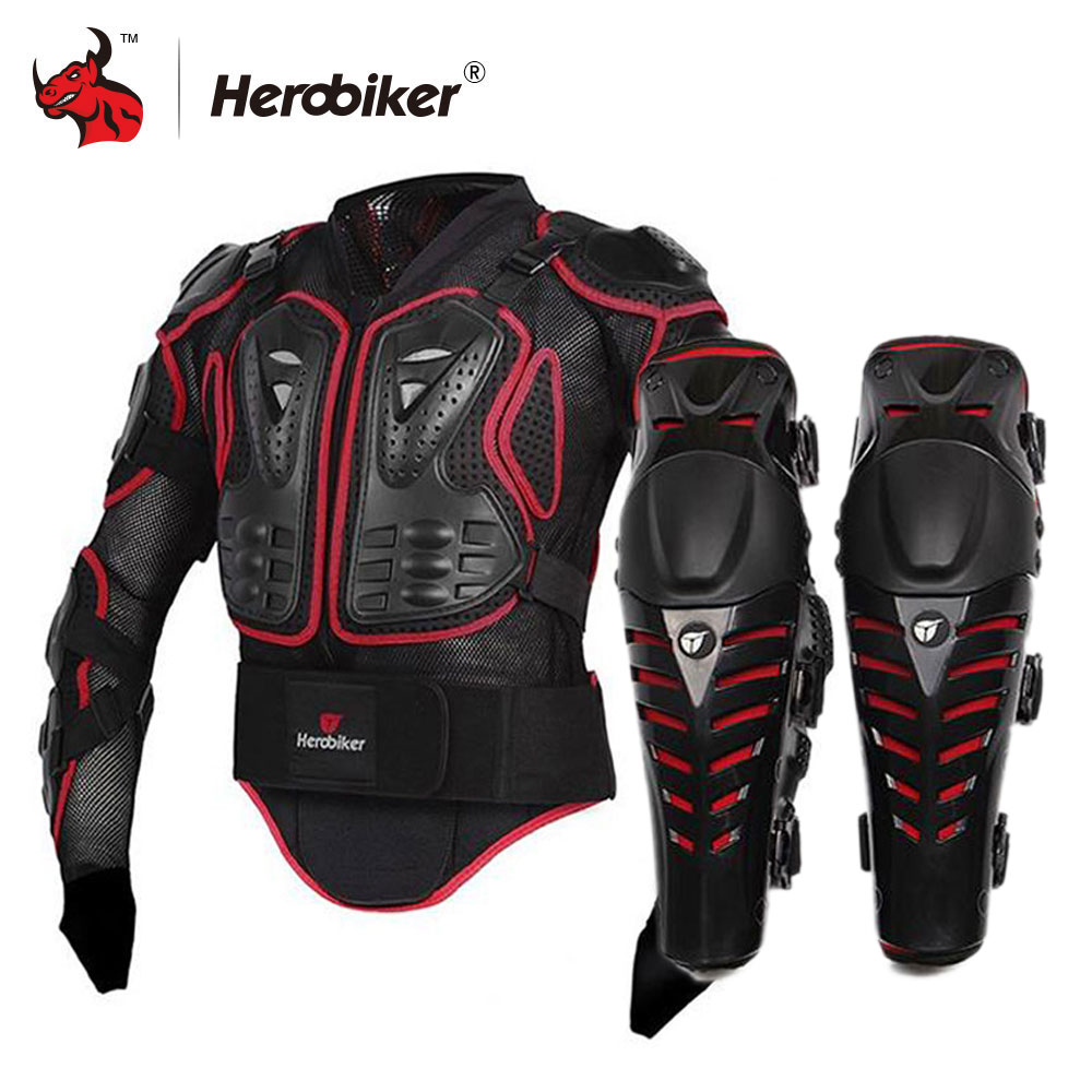 HEROBIKER Motorcycle Jacket Body Armor Protective Gears Motocross Off-Road Body Protection Jacket + Motorcycle Knee Protector herobiker armor removable neck protection guards riding skating motorcycle racing protective gear full body armor protectors
