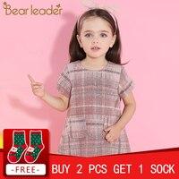 Bear Leader Girls Dress 2018 New Autumn Girls Clothes Classical Plaid Pocket Design Princess Dresses Children Clothing For 3 7Y