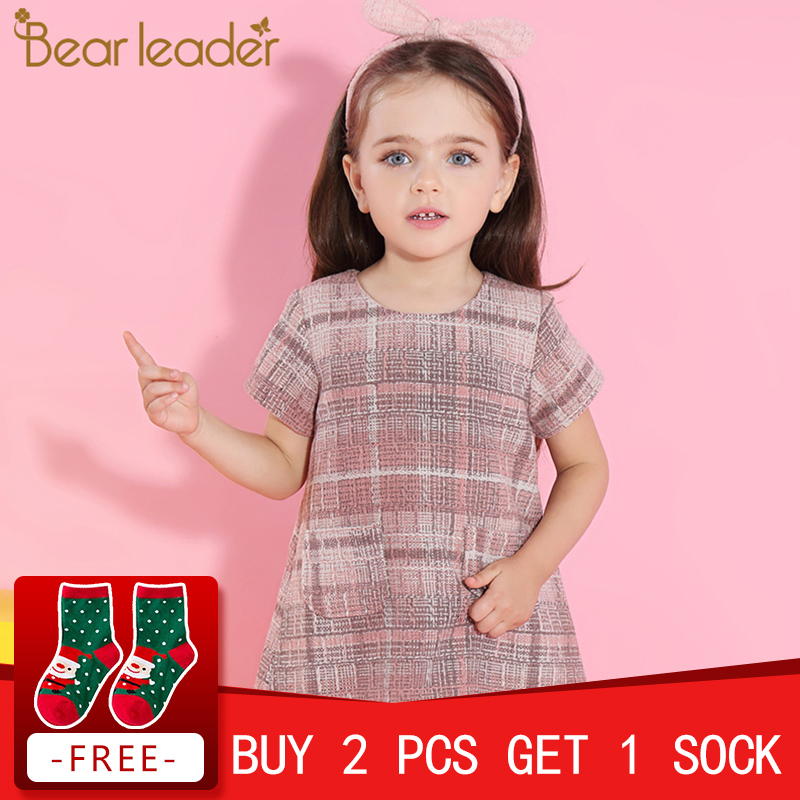 Bear Leader Girls Dress 2018 New Autumn Girls Clothes Classical Plaid Pocket Design Princess Dresses Children Clothing For 3-7Y trendy flat collar sleeveless pocket design buttoned dress for women