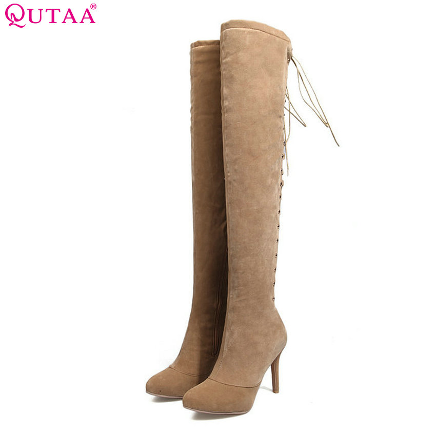 QUTAA 2018 Women Over The Knee High Heel Lace Up Westrn Style Pointed Toe Thin High Heel Women  Wedding Boots Size 34-39 qutaa 2017 women over the knee high boots all match pointed toe high quality thin high heel pointed toe women boots size 34 43
