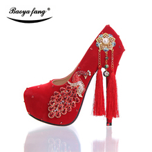 New Flock tessal Fashion shoes Women wedding shoes 14cm high heels platform shoes round toe peacock  Red Bride shoes