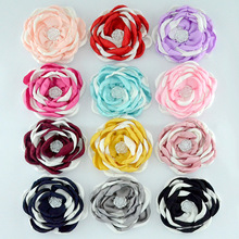 Yundfly 3pcs/lot 3.6 Two-tone Burning Flowers for Baby Adult Headband Clips Pearl Rose Flower Diy Kids Girls Hair Accessories two tone geo print headband
