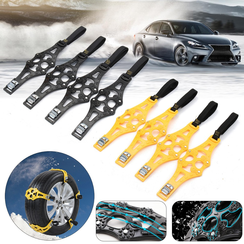 4pcs/set Car Tyre Winter Roadway Safety Tire Snow Adjustable Anti-skid Safety Double Snap Skid Wheel TPU Chains ...
