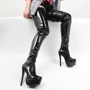 Image 4 - Jialuowei נשים ירך גבוהה מגפיים סקסי סופר גבוה פלטפורמה דק העקב הבוהן מחודדת רוכסן מעל לברך גבוהה נעלי ריקוד