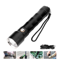 Multi functional XML L2 LED Flashlight 60m Diving Flash Light Power Bank 18650 USB Torch Tactical with Knife Self Defense