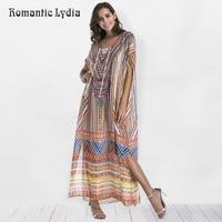 New Arrival 2018 Boho Summer Loose Vintage Print Maxi Dress Women Robe Femme Bohemian Ethnic Split