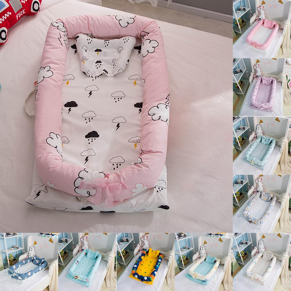 Baby Cartoon Printing Bionic Bed Bumper Portable Baby Nest Bed Multifunctional Travel Bed With Bumper Mattress For Baby Crib cute portable baby nest bed crib newborn biomimicry multifunctional emperorship solidder nursery travel bed with bumper mattress