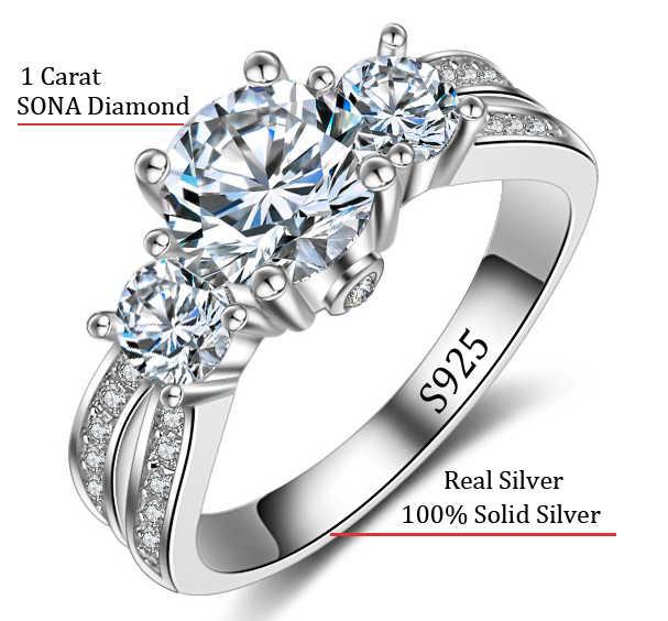 แหวนเครื่องประดับFineเงินจริงเงินแท้925แหวนแต่งงานชุด1กะรัตsona cz d iamantแหวนหมั้นสำหรับผู้หญิงAR036