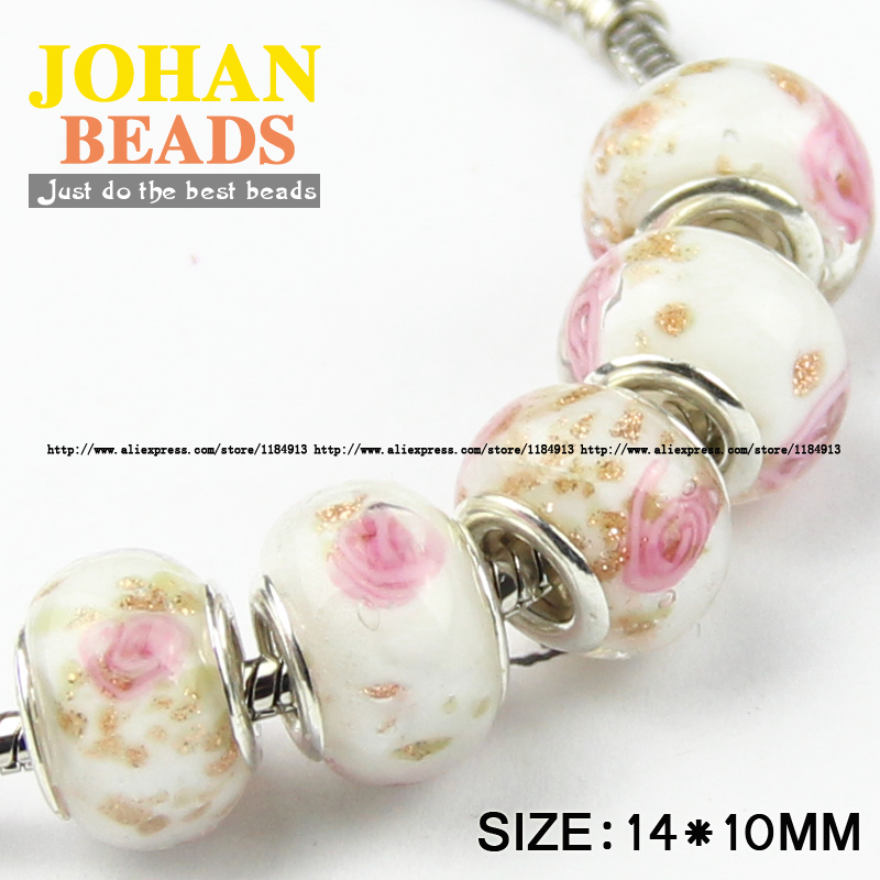 10pcs 15x9mm Murano Lampwork Glass Loose Big Hole Charm Beads European Bracelets