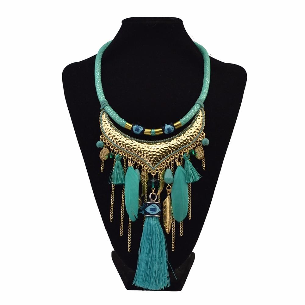 Idealway Etniskās Vintage Boho Thread Long pušķis Kaklarotas sievietēm Feather Beads Drop Auskari Kaklarota komplekti Turcijas rotaslietas