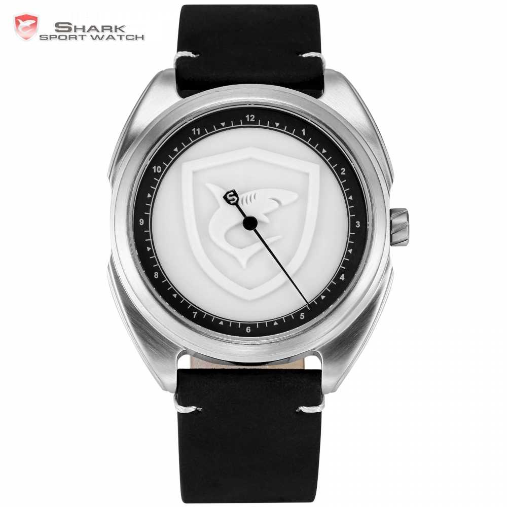 Collared Carpet Shark Sport Watch 3D White Logo One Simple Hour Hand Design Leather Band Quartz Men Watches Reloj Hombre / SH575