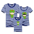 1psc Family Matching Outfits T-shirt Cotton Tees Father Mother Kids Tops Navy Striped Clothes For Mother Daughter And Father Son